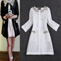 Spring Women Trench Coat Medium Long Elegant Beaded Outwear Coat Slim Waist Hollow out Striped Trench OL Outweal Windbreaker