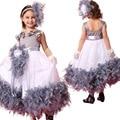 Мода высокого качества перо девушки особых поводов платья день рождения платье для 7 лет детские платья для девочек праздничные