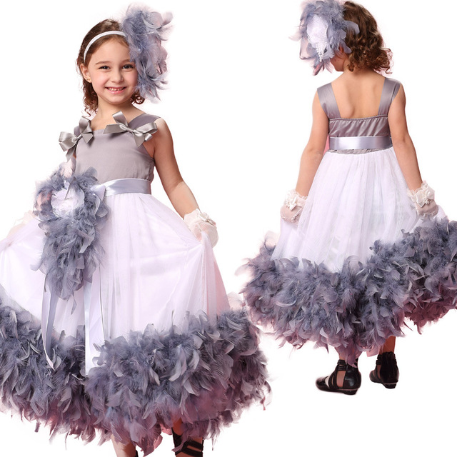 fashion high quality feather girls special occasion dresses birthday