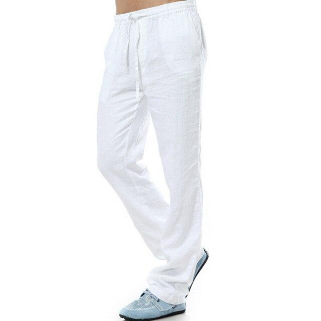576d9bbd2f Pantalones casuales de verano para hombre Pantalones de lino 100% Natural lino  blanco cintura elástica