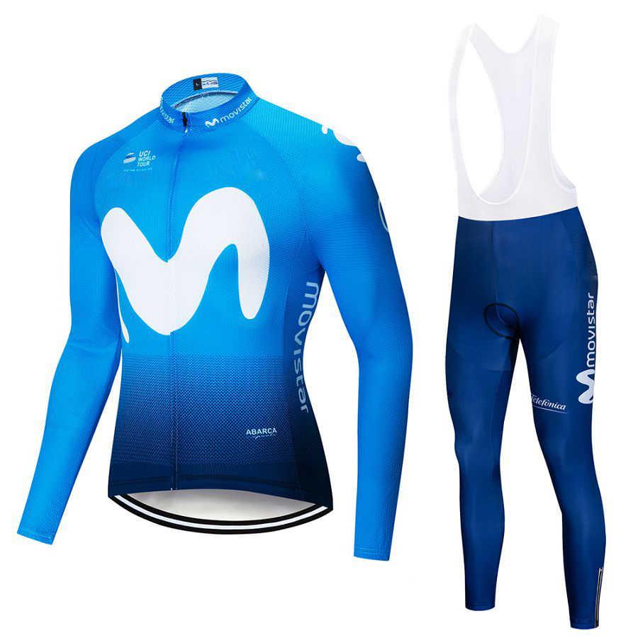 7e4d60e6d 2019 Movistar Team long sleeve Cycling jersey Set bib pants ropa ciclismo  bicycle clothing MTB bike
