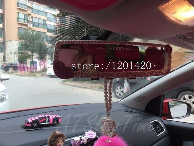 Sparkly Glitter Woman Rear View Mirror Unique Accessories Cute Fashion Gifts For Lady S Clean Rhinestone