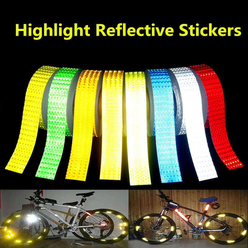 5cm*50m High strength reflective Material car stickers Motorcycles Safety Warning Tape Bicycles decoration adhesive strips