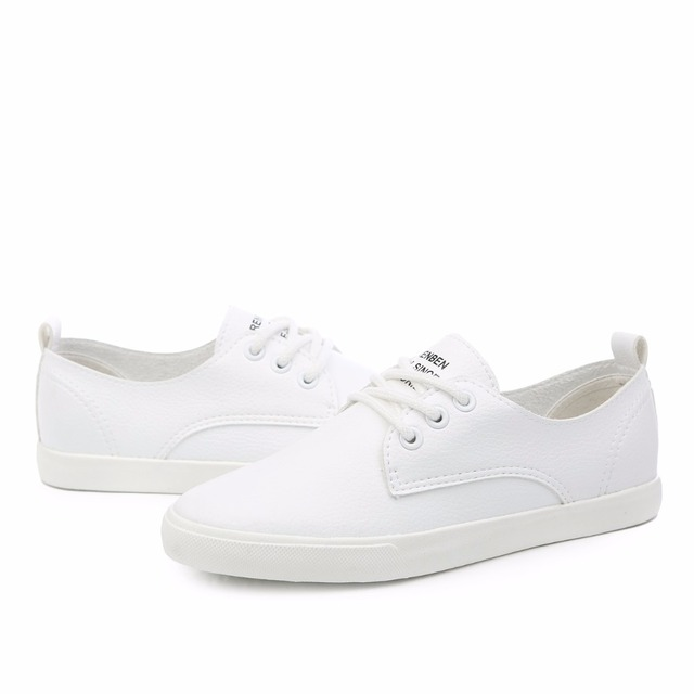 2018 New Leather Women Shoe Casual Leather Shoes For Women Flat Shoes Ladies Lacing Loafers Zapatos Mujer 3