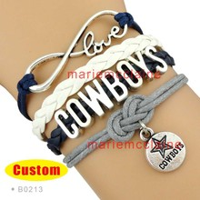 10 Pieces Lot Infinity Love NFL Dallas Cowboys Football Team Bracelet Navy Silver White Custom