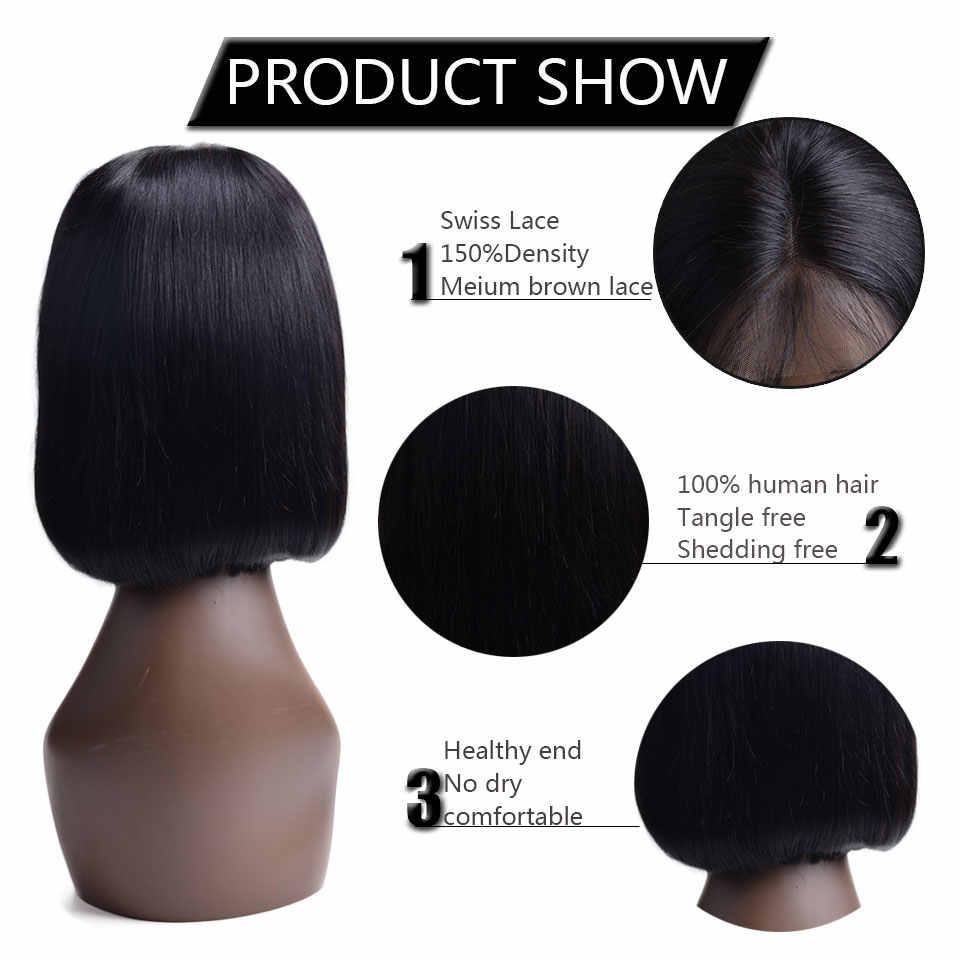 Полный конец Синтетические волосы на кружеве человеческих волос парики для женский, черный бразильский Волосы remy человеческие волосы короткие прямые BobWig с ребенком волос