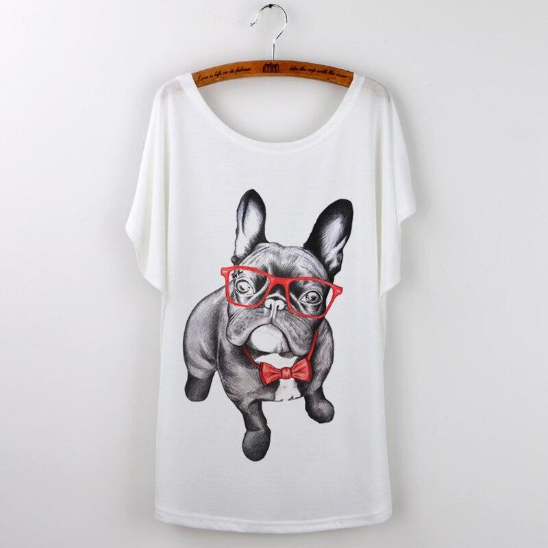 Fransk Promotion Bulldog Print Kvinne T-skjorte Korea 2017 Topper - Kvinneklær