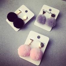 Cute Lady Faux Fur Ball Stud Earrings for Women Round Triangle Ear Stud Jewelry 2A3018
