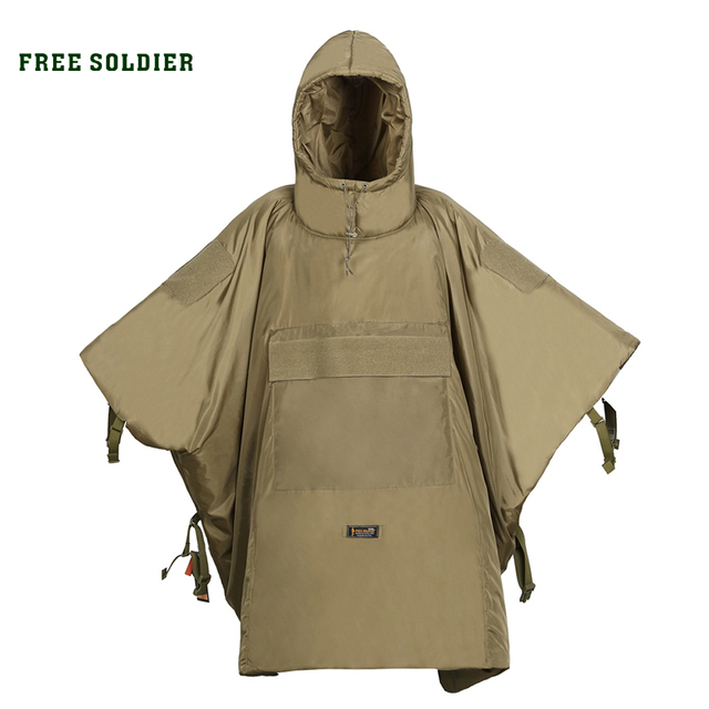 FREE SOLDIER outdoor sports climbing camping riding tactical cloak warm cotton cloak men's sleeping bag thicken cloak