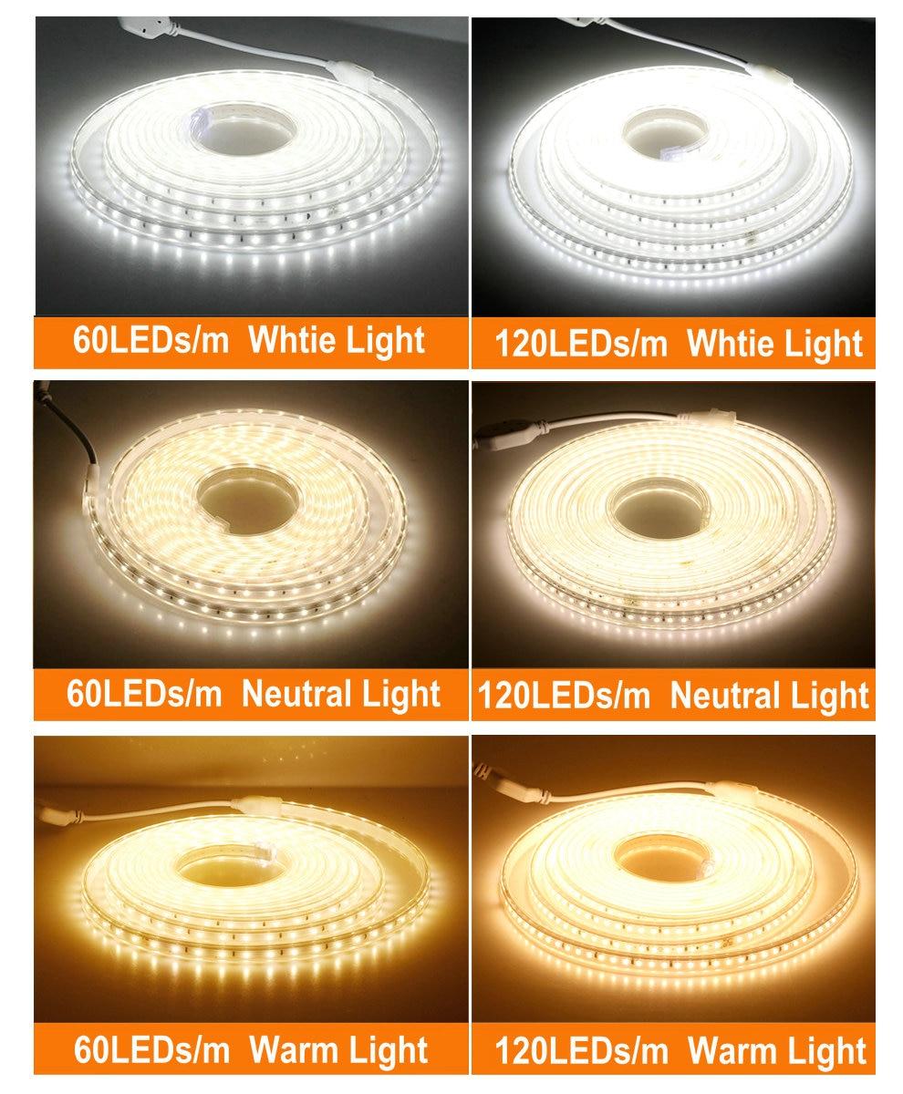 220V LED Strip 2835 High Safety High Brightness 120LEDs/m Flexible LED Light Outdoor Waterproof LED Strip Light.