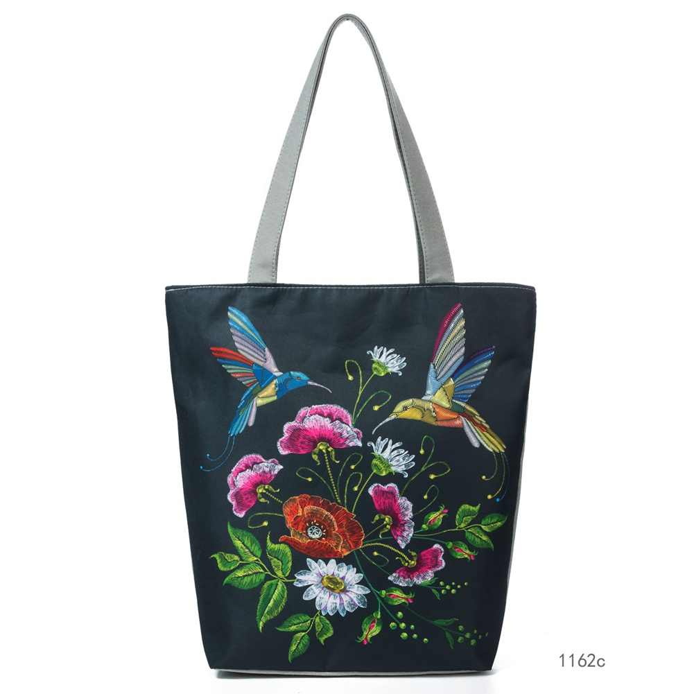 New Arrival Women Handbag Canvas Shoulder Bag Female Flower Birds Printed  Travel Beach Bag Shopping Crossbody 66b25a1615