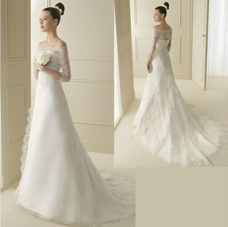 Small Fresh Elegant Slit Neckline A Train Wedding Dress