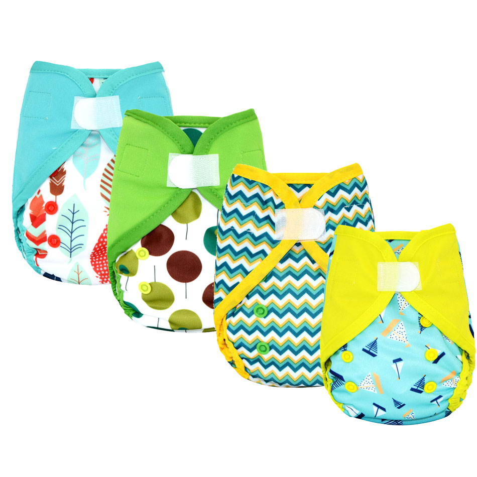 Miababy NBS Cloth Diaper Cover, Washable And Reusable Cloth Diaper, Fit Baby 3-9kg Or 0-6 Months