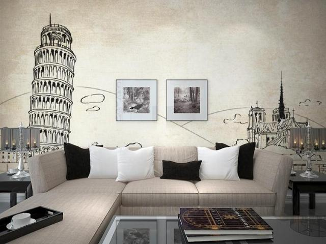 Custom photo wallpaper Tower of Pisa European architectural line drawing TV  background wall mural wallpaper