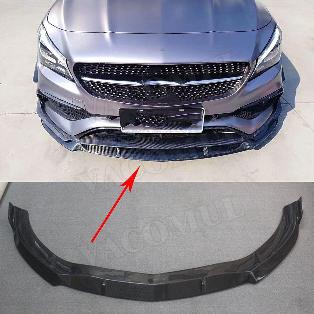 For W117 CLA Class Car Racing Carbon Fiber Front Bumper Lip Spoiler for Mercedes Benz CLA200 CLA250 CLA45 AMG 2016 2018 B Style