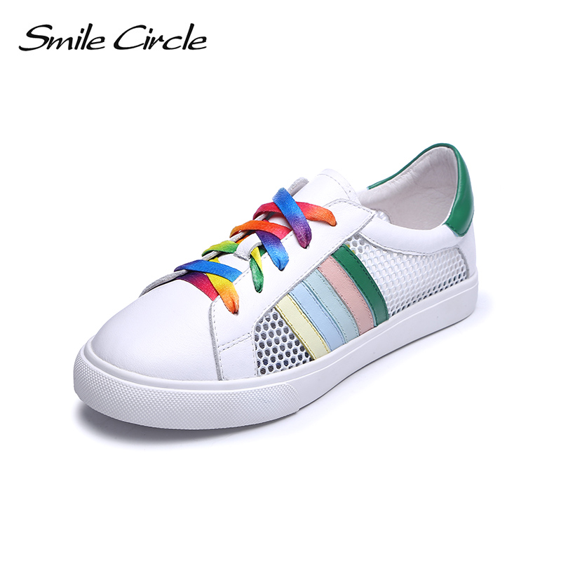Smile Circle Summer Sneakers Women Genuine Leather Flat Platform Shoes Fashion Breathable Casual Shoes For woman White Sneakers hzxinlive 2018 flat shoes women breathable flats shoes for women ladies casual platform female fashion summer sneakers footwear
