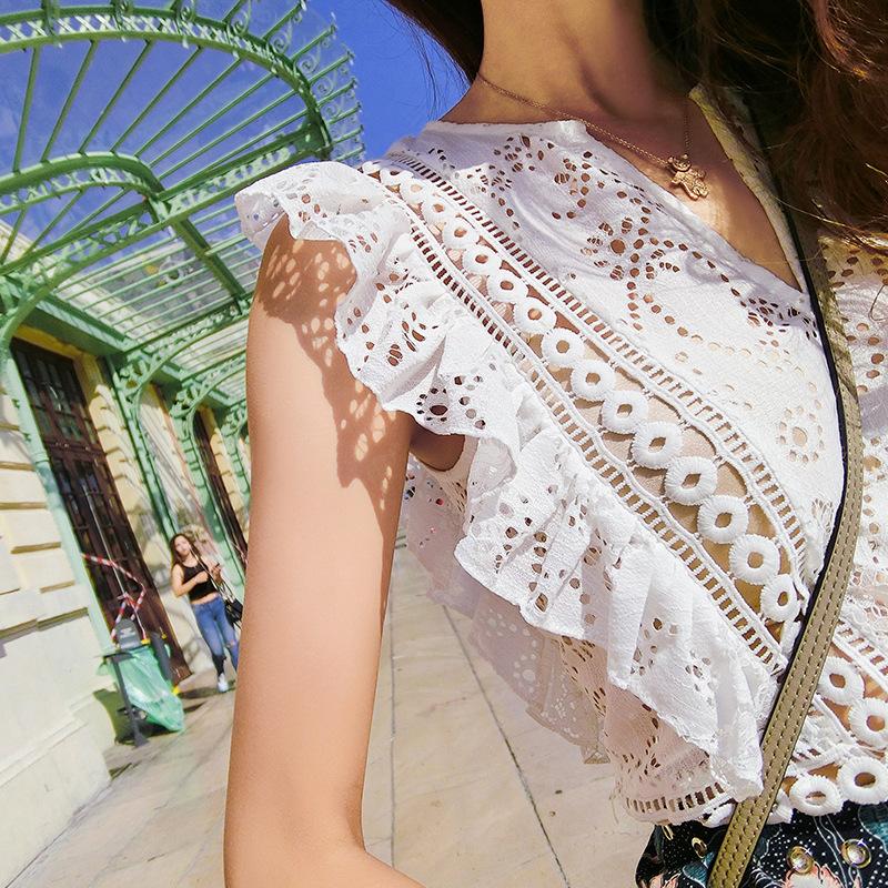 HTB1TzAmSFXXXXXaapXXq6xXFXXXe - Lady V Neck Ruffle Crochet Blouse Shirt Sexy Top JKP068