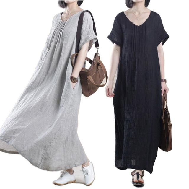 Scuwlinen vestidos 2017 summer dress women dress lleno inferior de la extensión de lino sólido dress plus size loose largo ocasional dress s100
