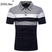 ZYFG free brand men polo shirt stitching short-sleeved turn-down collar youth fashion simple style male clothing