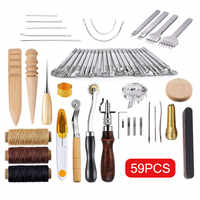 59 Pcs/Set Leather Craft Hand Tools Kit for Hand Sewing Stitching Stamping Saddle Making TN88