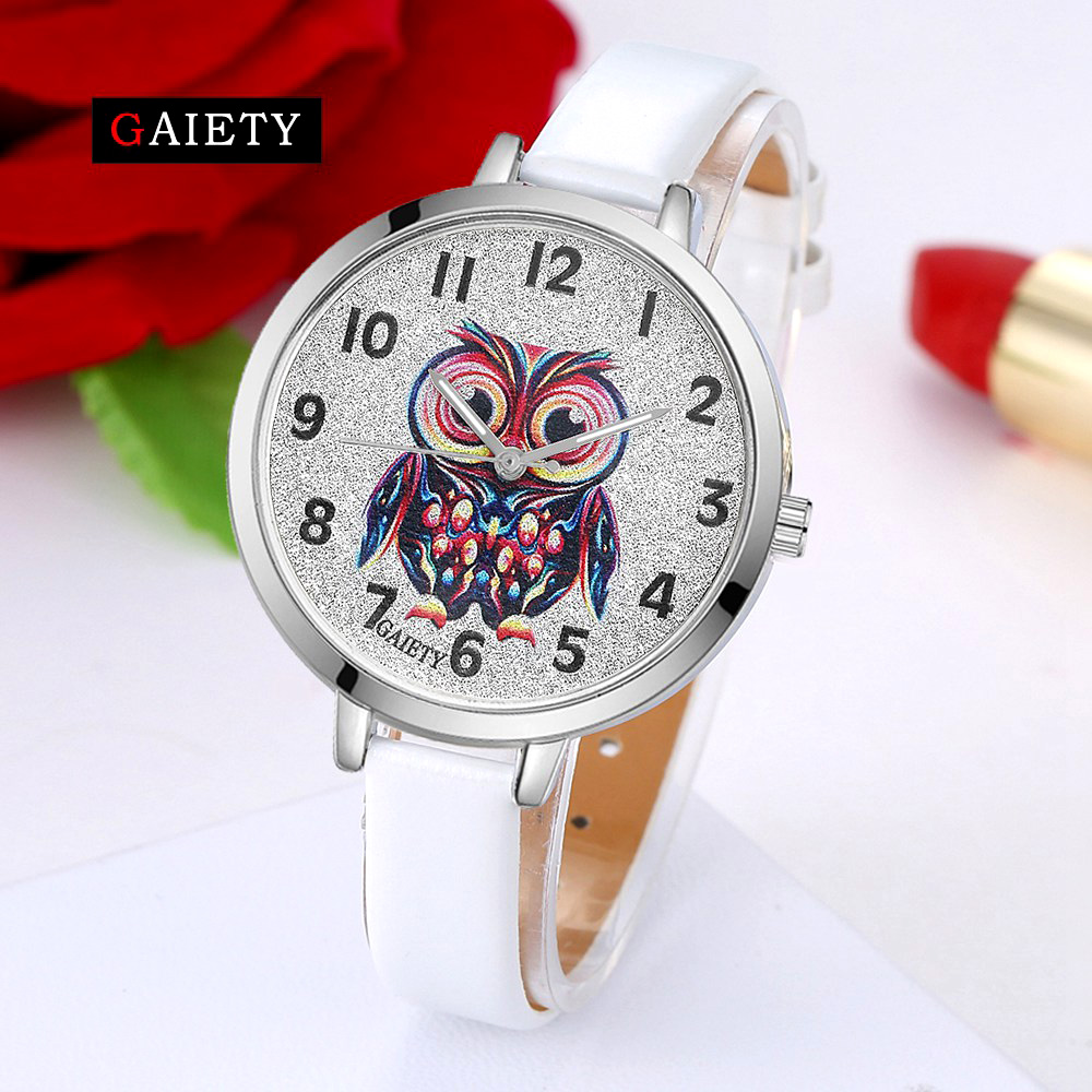 GAIETY Brand 2017 New Arrived Leather Fashion Women's Dress Watches Ladies Casual Wristwatches Simple Owl Quartz Watch Clock gaiety men s casual stripe dial leather band dress watch g538