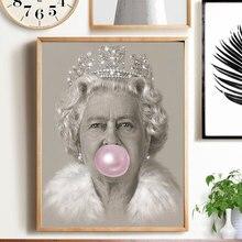 Bubblegum Queen, impresión artística de pared Elizabeth II, cartel nórdico, figura, lienzo, pintura, cuadros de pared para sala de estar, decoración moderna para el hogar
