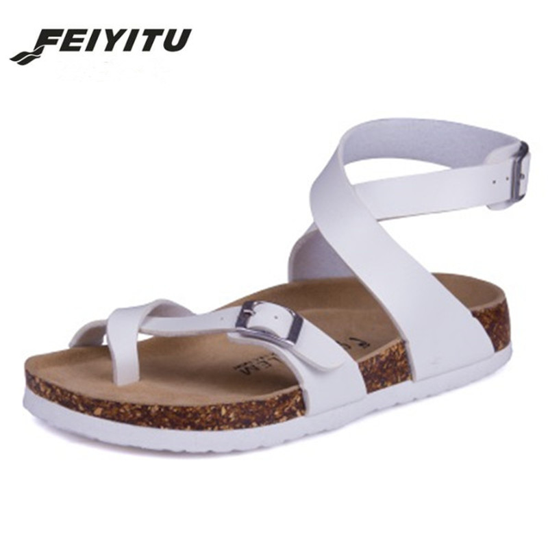 Feiyitu Fashion Cork Sandals 2018 New Women Casual Summer Beach Gladiator Buckle Strap Sandals Shoe Flats White Black Pink Red цена