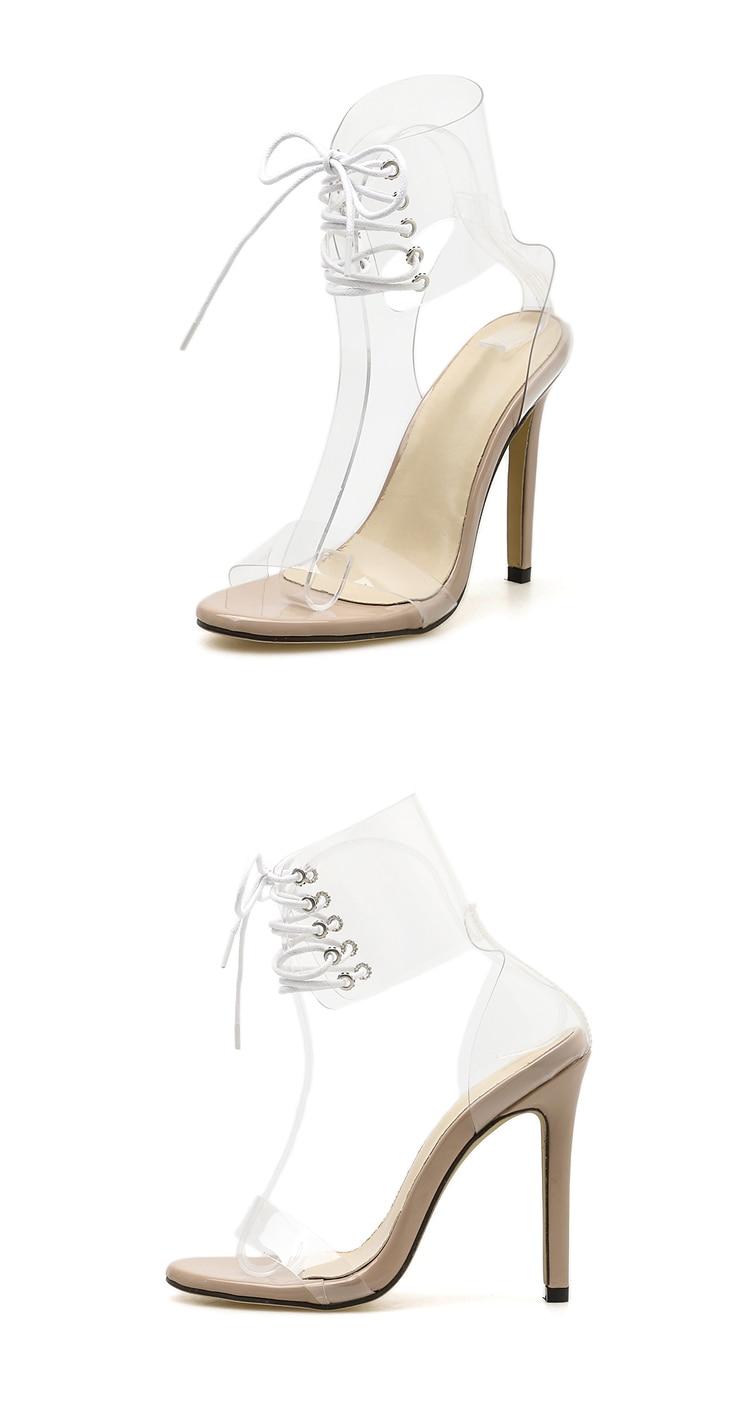 HTB1TzBRXiYrK1Rjy0Fdq6ACvVXaP Eilyken 2019 PVC Jelly Lace-Up Sandals Open Toed High Heels Sexy Women Transparent Heel Sandals Party Pumps 11CM Sales Promotion