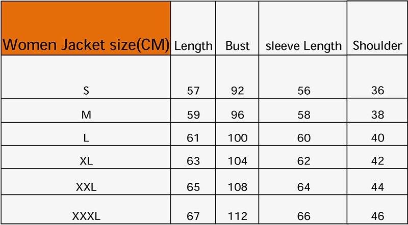 women jacket size