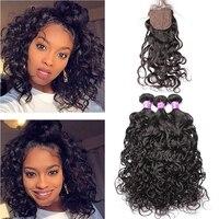 Water Wave 3 Bundles With Closure Bazilian Human Hair Weave Bundles With 4x4 Silk base Closure Virgin Hair You May