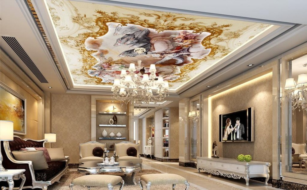 Custom 3d ceiling murals wallpaper angel god christ 3d for Ceiling mural wallpaper