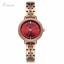 KIMIO Red Big Watch For Women Clock Rose Gold Bracelet Diamond Crystal 2019 Top Luxury Ladies Quartz Brand Female