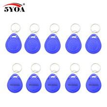 100 יחידות כחול RFID 125 khz EM4100 מפתח תג Keyfobs טבעת שבב Keytab TK4100 תגים 125 khz לקרוא רק