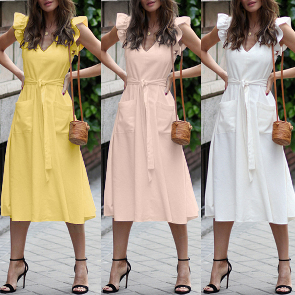 Women Dress Summer Fashion Sleeveless V-neck Ruffle Cocktail Prom Gown Dress Party Dresses Sweet Ruffled Dress For Girls #39