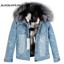 Winter Coat Denim Jacket Real-Fox-Fur Women Fur-Collar Lining Raccoon Parkas100%Large