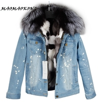2017 Real Fox Fur Lining Denim Jacket Coat Parkas100% Large Raccoon Fur Collar Women Winter Coat Jacket Denim