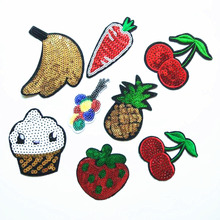 Sequin Embroidery Cloth Stickers Cherry Fruit Sequins Embroidered Clothing Decoration Patch