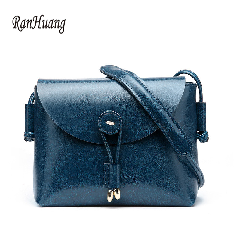 RanHuang Women Genuine Leather Shoulder Bags Women's Small Messenger Bags Vintage Handbags Fashion Bucket Bag Luxury Handbags 2017 fashion all match retro split leather women bag top grade small shoulder bags multilayer mini chain women messenger bags