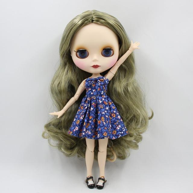 TBL Neo Blythe lutka zeleno siva kosa spojena tijela