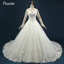 Real Photo 2016 Sexy V-Neck Ball Gown Wedding Dresses Long Applique Beaded Tulle Wedding Gown for Bridal Robe de mariage ASAFN39