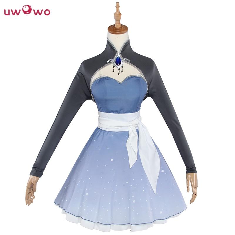 UWOWO Weiss Schnee Cosplay RWBY 4 Season White Dress Battle Uniform Uwowo Costume RWBY Weiss Schnee Cosplay