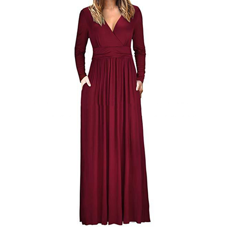 2018 Hot Sale Autumn Pleated Dress Long Sleeve Solid Color Dress Elegant Party V-neck And Long Dresss