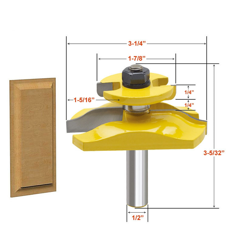 1 pc 1/2 Shank Raised Panel Router Bit with Backcutter - Ogee Woodworking cutter Tenon Cutter for Woodworking Tools high grade carbide alloy 1 2 shank 2 1 4 dia bottom cleaning router bit woodworking milling cutter for mdf wood 55mm mayitr