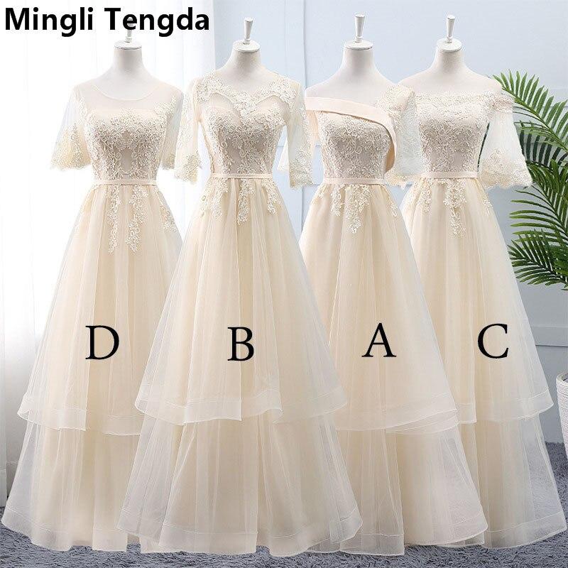 Mingli Tengda 2019 New Champagne Elegant Lace   Bridesmaid     Dresses   1/2 Sleeve O Neck   Bridesmaid     Dress   for Wedding Party