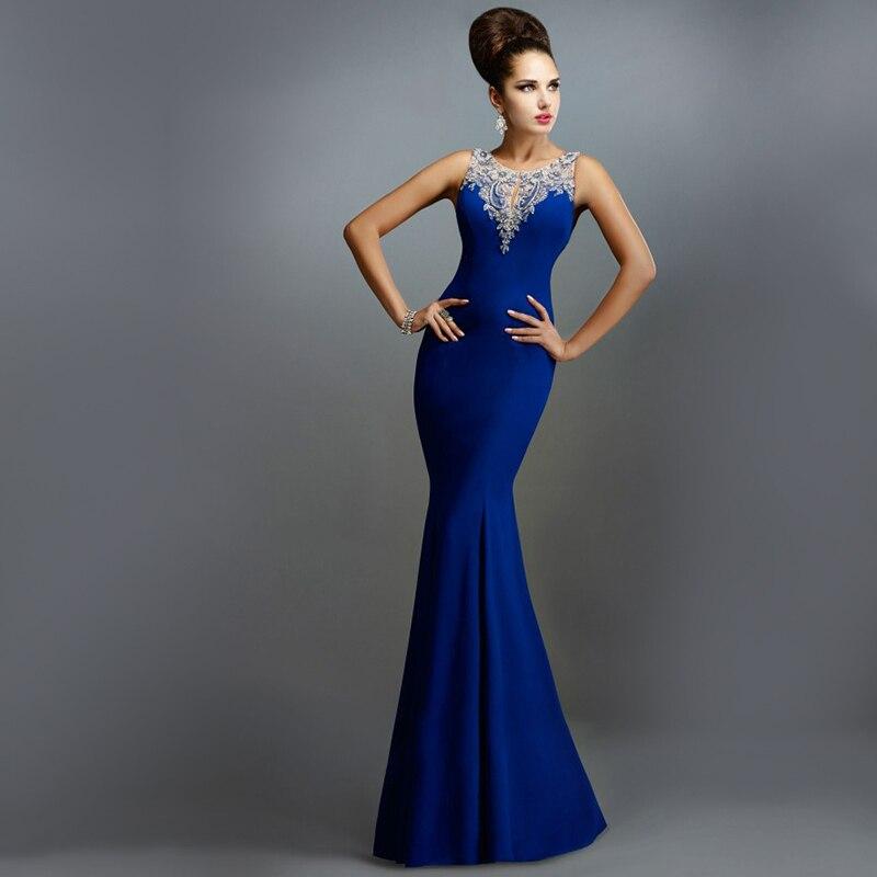 royal blue satin elegant evening party dresses 2016 runway beaded long robe de soiree formal. Black Bedroom Furniture Sets. Home Design Ideas