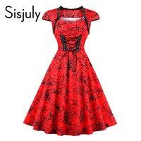 Sisjuly Vintage Dresses 1950s Autumn Red Elegant Banded Floral Print Lace Up Cap Sleeve Female Vintage