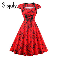 Sisjuly Vintage Dresses 1950s Autumn Red Elegant Banded Floral Print Lace Up Cap Sleeve Female Vintage