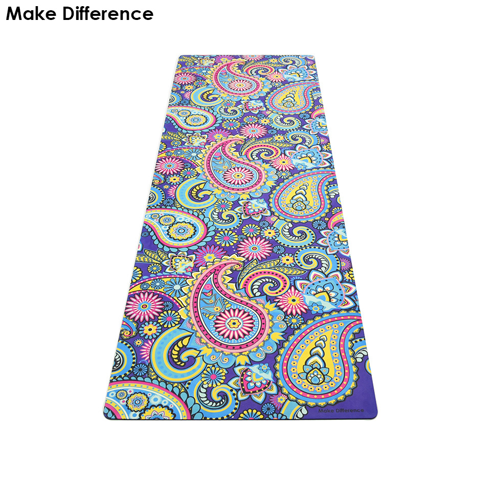 Make Difference Indian Floral Paisley Printed Outdoor Yoga Pilates Mat Natural Rubber Exercise Mats for Fitness 183cm*61cm*3.5mm yoga pilates mat pu 5mm for beginners and seniors widened workout yoga pilates gym exercise fitness gym mat