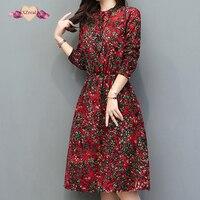 Floral Print Dress Women Vintage Cotton Linen Dresses Autumn Winter Long Sleeve Full Dress Long Robe