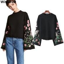 Увядшие 2017 Толстовка Женщины Большие размеры Европейский стиль рукав «фонарик» цветочной вышивкой Свободные О-образным вырезом плюшевые женские Топы пуловеры